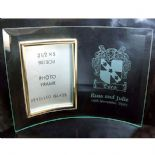 Glass Photo Frame with Family Crest, Personalised, ref PFC03